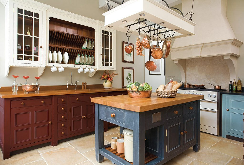A painted kitchen island