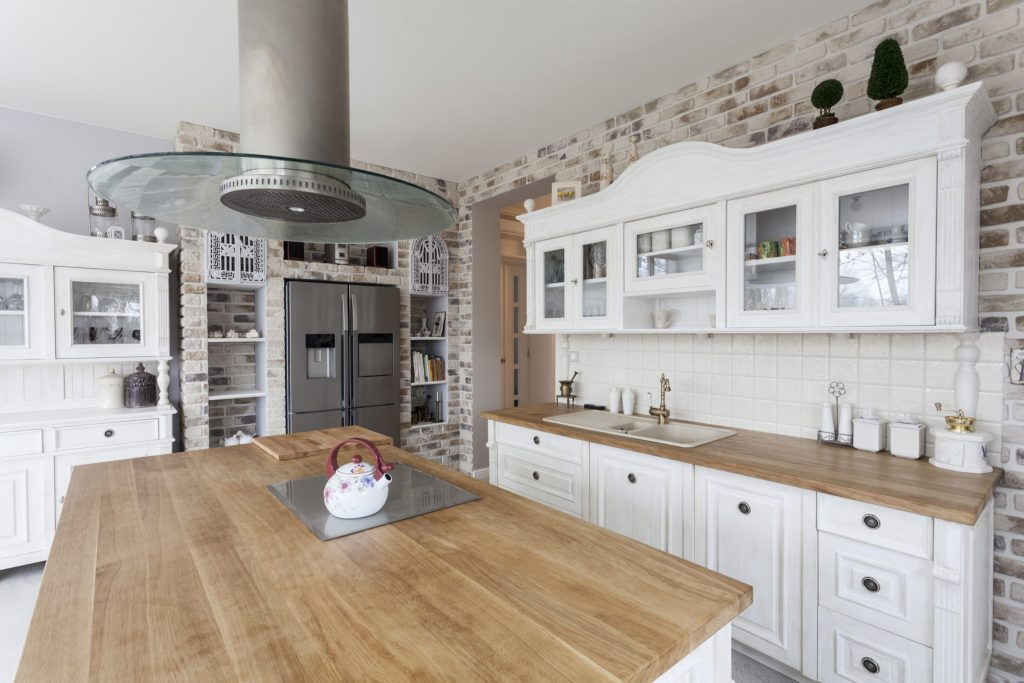A white-and-wood kitchen