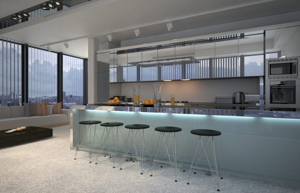 Built-in bars in a kitchen