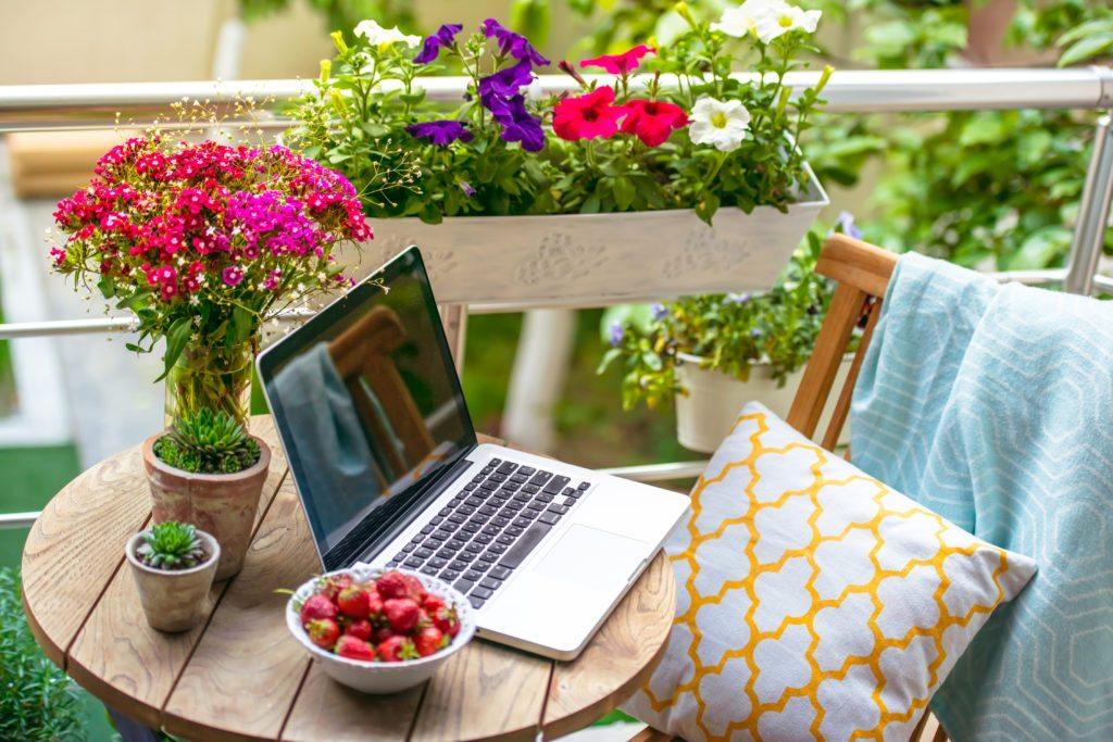 An outdoor office nook